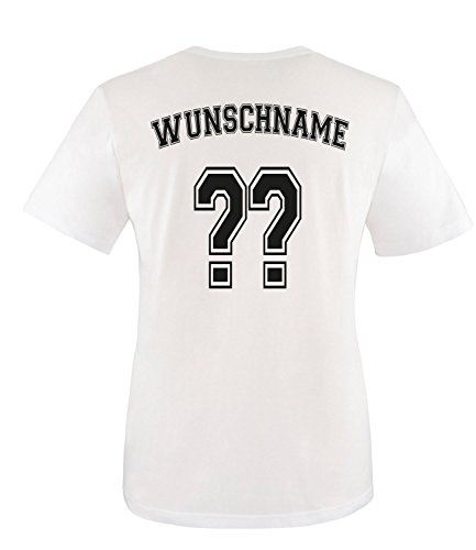 Luckja EM 2016 Trikot Deutschland Fanshirt mit Wunschnamen u. nummer Damen und Herren Rundhals T-Shirt Herren/Weiss/Schwarz