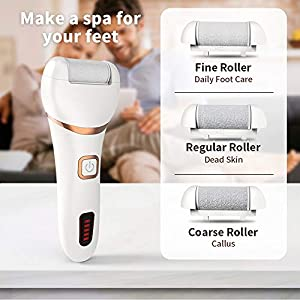 Electric Foot File, DIOZO Rechargeable Waterproof Hard Skin Remover with 3 Rollers and 2 speeds, Remove Cracked Heels and Dead Skin Within Minutes