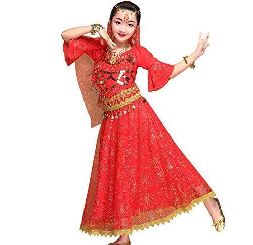 ZYLL 7 StüCk Pailletten MäDchen Kinder Bauchtanz KostüM Bollywood Indischen Tanzen Kleid Tanzen Kleidung Ballsaal BüHne Party Tanzen Outfits Set,Red,L (Kinder Bollywood Kostüm)