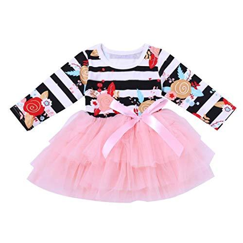 Kleinkind Baby Tutu Tüll Prinzessin Kleider Outfits Infant Mädchen Floral Gestreiften Kleider