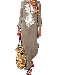 85f7cbb7b89 ZIYYOOHY Kaftan Vintage Women s Cotton V Neck Long Sleeve Ethnic Print Maxi  Dress Long Dress