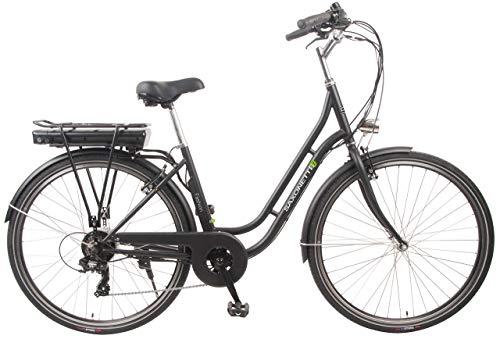 "SAXONETTE Unisex- Erwachsene Fashion 28\"" Retro E-Bike 10,4 AH 7-Gang Shimano Pedelec Elektrofahrrad (Schwarz matt), One Size"