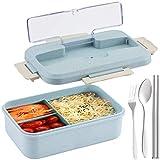 PAMASE Bento Box Brotzeitbox Lunchbox Brotdose Frühstücksbox Brotdose mit trennwand Gratis Edelstahl Löffel und Gabel geeignet für Erwachsene und Kinder 22 x 15 x 7 cm
