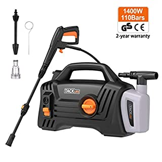 TACKLIFE Pressure Washer, 1400W 110Bar 1600 PSI, Pure Copper Motor, 360 ° Easy to Remove Dirt, TSS Stop System, High Power Pressure Cleaner for Vehicle, Home, Garden, Barbecue
