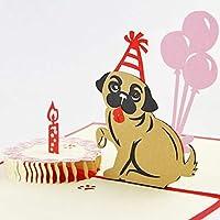 BC Worldwide Ltd fatto a mano 3D pop-up torta di compleanno torta pug cane animale domestico amico famiglia amore bambino figlio partner moglie marito origami kirigami regalo del mestiere di carta