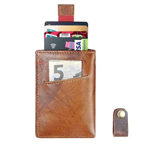 flintronic® Credit Card Holder, Genuine Leather RFID Blocking Credit Clip, Minimalist Slim Wallets, Cash Pocket Wallet for Men & Women (Include USB Cable Winder) - Brown - Womens Slim-credit Wallet Card