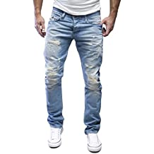 AMICA by MERISH Herren Jeans Straight Fit Destroyed Blue Jeans