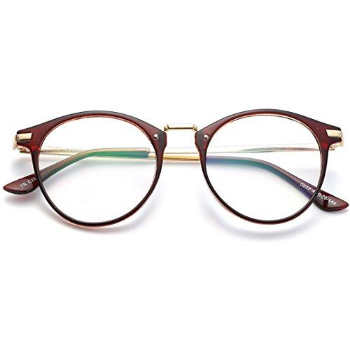 VEVESMUNDO Brille Hornbrille Ohne Sehstärke Nerdbrille Pantobrille Damen Herren Retro Vintage...