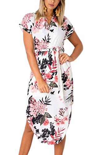 ECOWISH Sommerkleider Damen Kurzarm V-Ausschnitt Strand Blumen Kleider Abendkleid Knielang Weiß S
