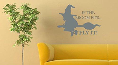 sen passt Fly Es Halloween Wand Aufkleber, Matte Dark Grey, 30-Inch x 22-Inch (Günstige Halloween-dekoration Für Zu Hause)