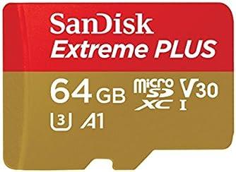 Scheda di Memoria SanDisk Extreme PLUS microSDXC da 64 GB + Adattatore SD fino a 100 MB/sec, Classe 10, U3, V30 A1