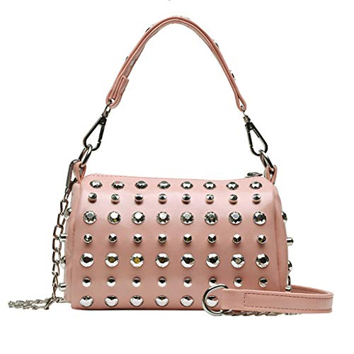 XZDCDJ UmhängeTaschen Damen Damen Mode Niet Slant Bag Single Schultertasche Geldbörse Messenger Bag Rosa -