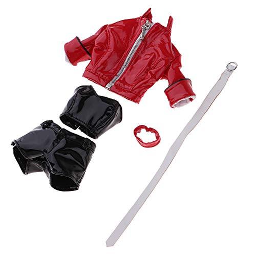 sharprepublic PU Lederjacke Lederhose Mantel Weste weibliche Puppe Kleidung für 12 Zoll Action Figuren