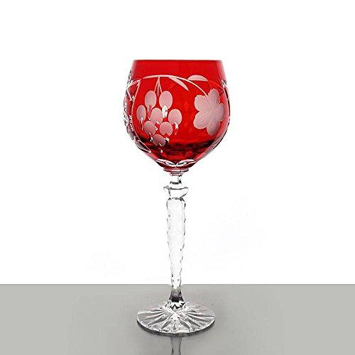 Weinglas, Weinkelch, Römer 'TRAUBE' orange, 300ml, handgeschliffen, Bleikristall, moderner Style...