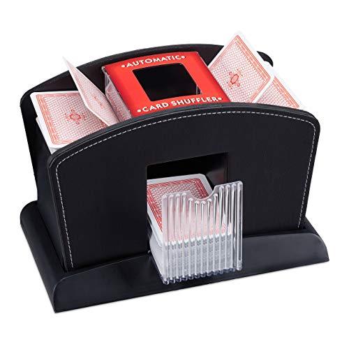 Relaxdays Kartenmischer Elektrisch, Leder, 4 Decks, Automatische Kartenmischmaschine zum Mischen von Karten, schwarz, Standard