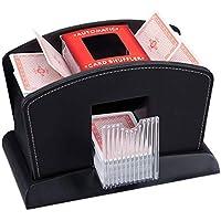 Relaxdays Kartenmischer Elektrisch, Leder, 4 Decks, Automatische Kartenmischmaschine zum Mischen von Karten, schwarz
