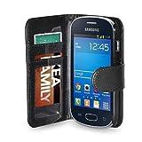 Custodia color nero con tasche e chiusura magnetica a libro per Samsung Galaxy Fame Lite S6790