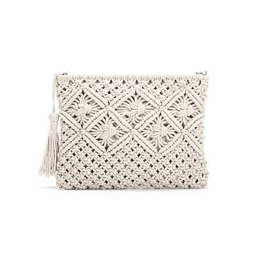JOSEKO Damen Clutch Geldbörsen, Quaste Polyester Baumwolle Handtasche Vintage Handgewebte Tasche Sommer Stroh Strandtasche für Frauen Weiß (Stroh Taschen Vintage Aus)