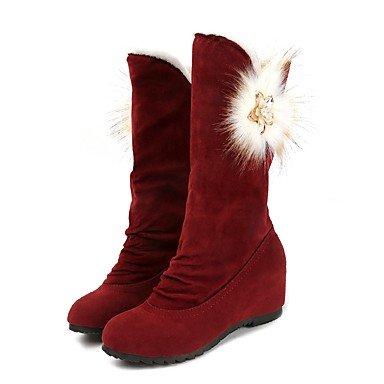 RTRY Scarpe Donna Nabuck Pelle Pu Inverno Comfort Moda Stivali Stivali Punta Tonda Per Casual Vino Nero Marrone US5.5 / EU36 / UK3.5 / CN35