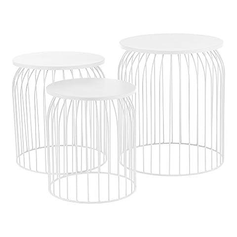[en.casa] Stylischer Metallkorb im 3er Set - Design Beistelltisch /