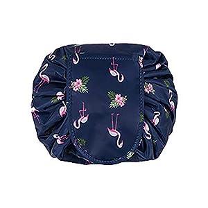 Large Capacity Lazy Makeup Toiletry Bag Drawstring Portable Travel Casual Waterproof Quick Pack Magic Makeup Storage Bag Perfect for Women Girls (DarkBlue Flamingo)
