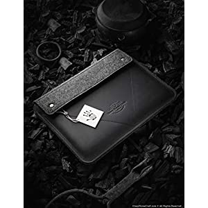 2019 MacBook Pro 13/15/16 Zoll Etui/Hülle | Carbon Black, 100% Wollfilz 2019 MacBook Air 13 Zoll Gehäuse, handgefertigt, einzigartig, Vintage echte Crazy Horse Leder-Laptoptasche, Crazy Horse Craft