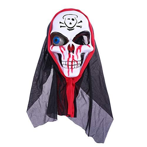 Amosfun Halloween Scary Maske Spooky Skull Gesichtsmaske Halloween Bloody Cosplay Maske Scary Kostüm Party Requisiten für Halloween Maskerade Party Supplies