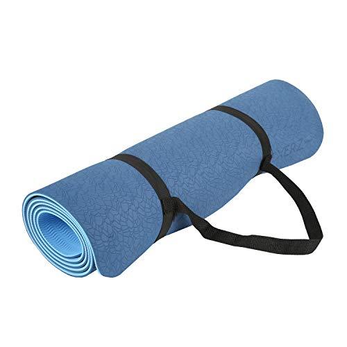 Exerz extpe-dlb biadesivo per yoga e tappetino da palestra con tracolla - 183 x 61 cm / 6 mm - alta densità/antiscivolo/pilates/leggero/effetto ghiaia superficie progettata