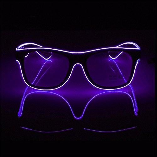 Aprigy - Blinkende Beleuchtung Draht LED Brille Luminous Partei Dekorative Beleuchtung Gl?Ser Geschenk Helle Partei Sunglasses [Lila ]