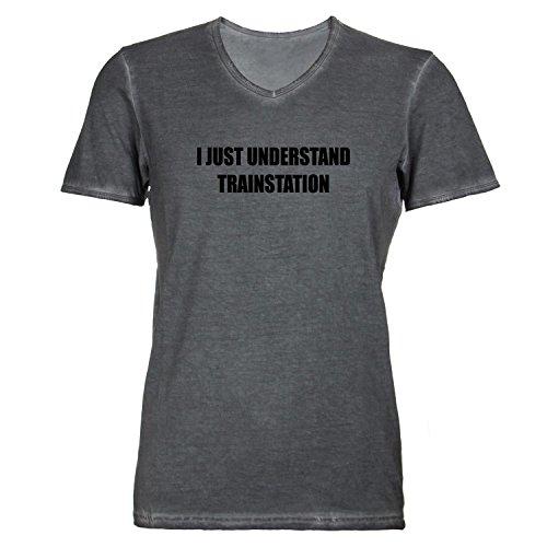 T-Shirt Da Uomo scollo a V-I just Understand Train Station-riassumo solo Ferroviario grigio scuro s