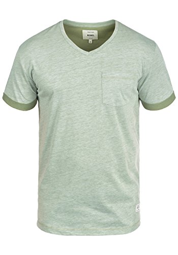 Redefined Rebel Moses Herren T-Shirt Kurzarm Shirt V-Ausschnitt Brusttasche Aus Hochwertiger Baumwollmischung Meliert Dark Olive