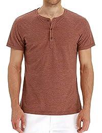 Minetom Hombre Camiseta Básica De Manga Larga Casual Cuello Redondo Botón  Slim Fit T-Shirt 9625a91522a