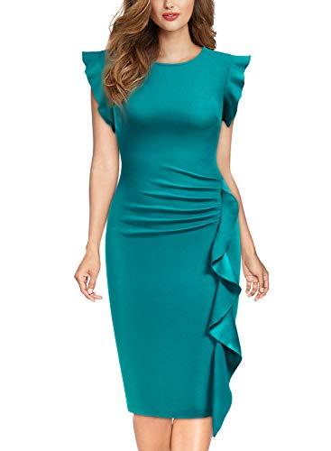 Miusol Damen Rundhals Abendkleid mit Falte Etuikleid Knielanges Kleid Acid Blau Gr.M -