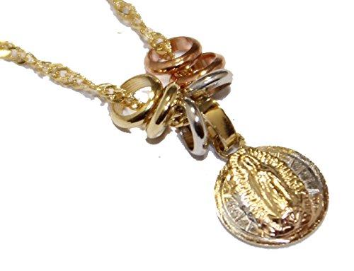Virgen de Guadalupe medalla de tono de 3Mini medalla 14K chapado en oro con cadena de 20pulgadas