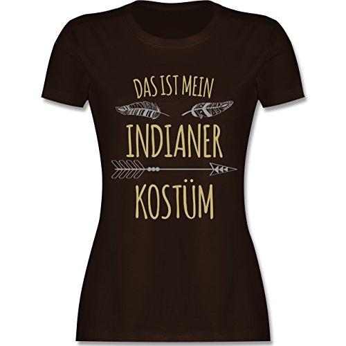 Karneval & Fasching - Das ist Mein Indianer Kostüm - L - Braun - L191 - Damen T-Shirt Rundhals (Sexy Indianer-kostüme Für Frauen)
