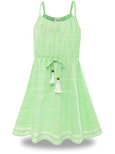 BONNY BILLY Mädchen Kleider Sommer Freizeit Baumwolle Ärmellos Strandkleid Kinderkleidung 10-11 Jahre/140-146 Grün