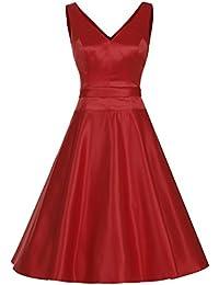 Dresstells®Vestido Mujer Corto Retro Vintage De Estilo 1950 Rockabilly Escote En Pico
