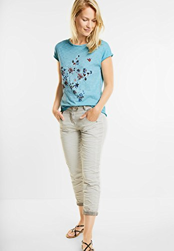 CECIL Damen Washed Shirt mit Blüten blue topaz (blau)