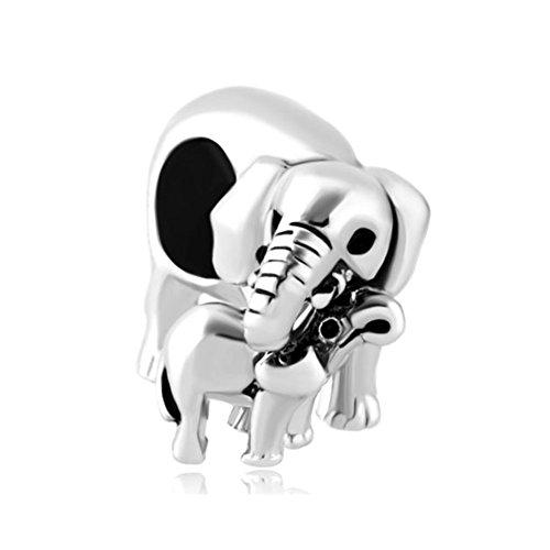 Charm de elefantes madre e hijo para pulsera Pandora