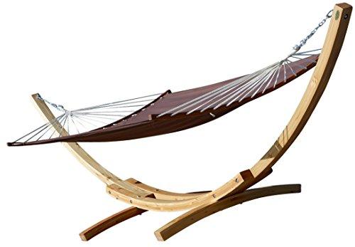 410cm Support hamac XXL Natur-Bent Edition Marron hamac en Bois de mélèze avec ergon. Tige incurvée de Ass