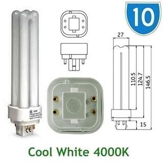 10 x GE 12870, 18 W, energiesparend, GE Biax D/E 4-polig, Weiß, Quad, plug-in, 4000 K, 4P G24q - 2 PL PLC 4000 K/Leuchtmittel Lampe F18DBX SPX 41/4/0 84 (DE)