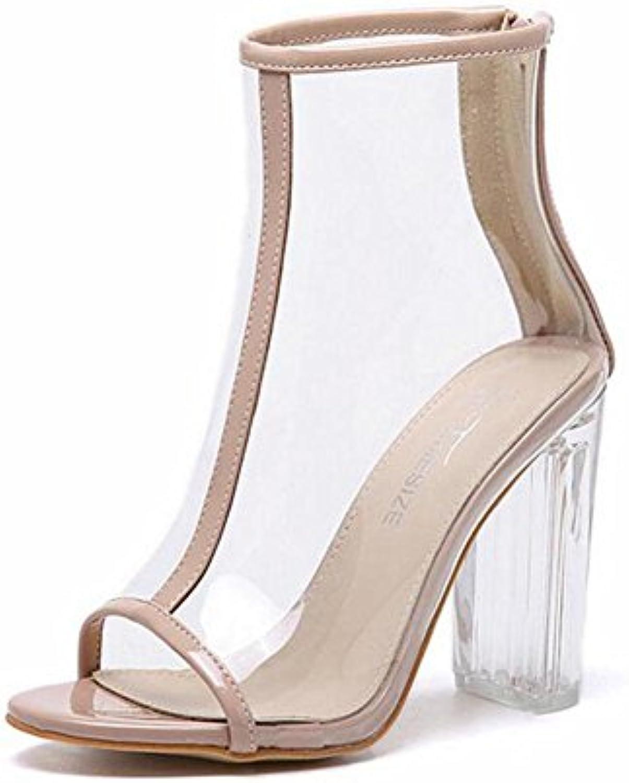 e657e431beb8b4 GLTER GLTER GLTER Women Pumps Summer New Wind Transparent Thick Cool Boots  Crystal Sandals High-Heeled Peep Toe Shoes Court... B071R7LH74 Parent 9e838e
