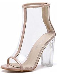 GLTER Mujeres Bombas Verano Nuevo Viento Transparente Grueso Cool Botas Sandalias De Cristal De Tacón Alto Zapatos Peep Toe Zapatos Corte , apricot , 35