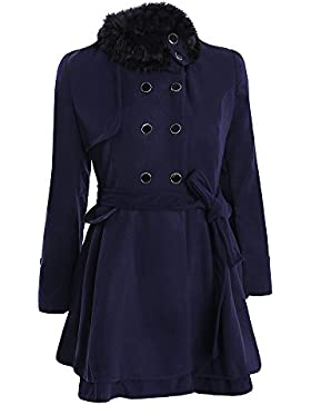 Abrigo Mujer BUIMIN - Chaqueta Larga Con Cinturón Paramatta Con Doble Dotonadur Engrosamiento Mujer Cuello Felpa...