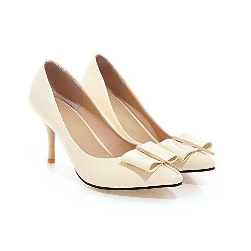AllhqFashion Femme Stylet Couleur Unie Pointu Tire Chaussures Légeres Beige