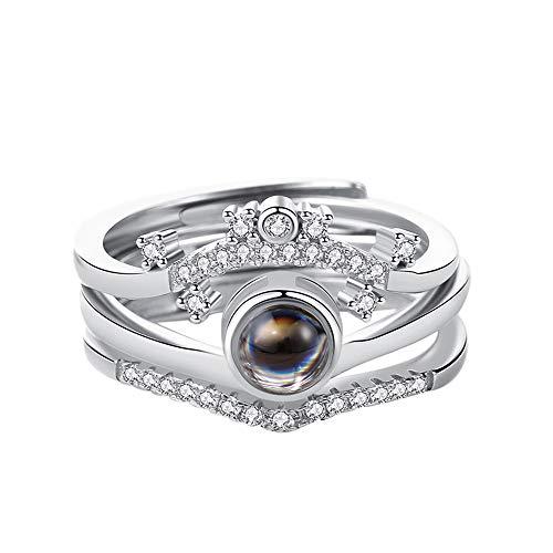 Yanday Dreifachprojektionsring 100 Sprachen ICH Liebe Dich Personalisierter Damenring(Silber Vollfarbe Einstellbar)