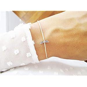 Armband mit Flügel Sterlingsilber Gold | Gedenkarmband Sternenkind Sternenmama Schutzengel | Beige Personalisiert…
