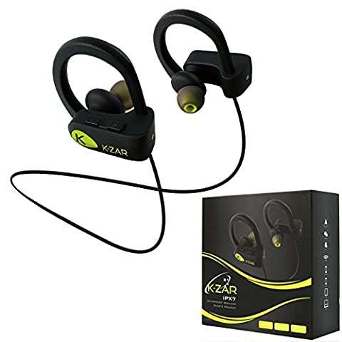 K-ZAR Ecouteurs Bluetooth Sans Fil Sport, Oreillettes Bluetooth Intra-Auriculaires, Casque Etanche IPX7, Écouteur Réduction Bruit, Son Stéréo HD, Mains-libres, Headphone Compatible iPhone, Samsung et tout appareil Bluetooth (Noir)