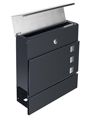 Frabox Design Briefkasten LENS Edelstahl / Anthrazitgrau Exklusiv - 3