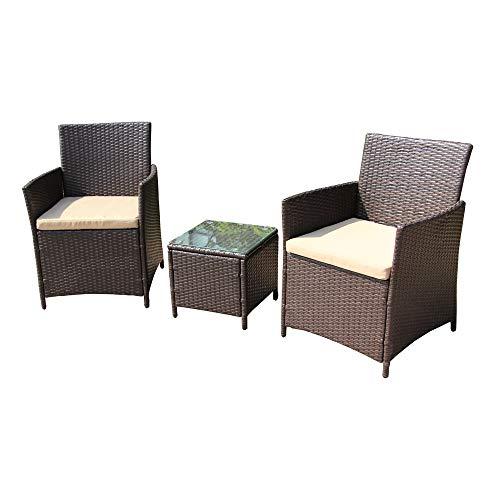 Aleko RTF006BR Rattanmöbel für Innen und Außen, 3-teilig, Braun mit cremefarbenen Kissen